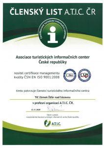 Členský list ATIC - TIC Zámek Žďár