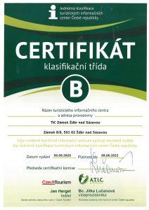 Certifikát TIC Zámek Žďár nad Sázavou